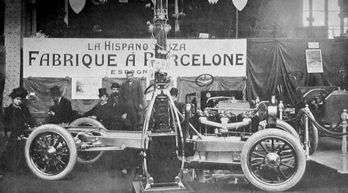 Salon de Paris fin 1907: Stand Hispano avec châssis six cylindres 60 CV