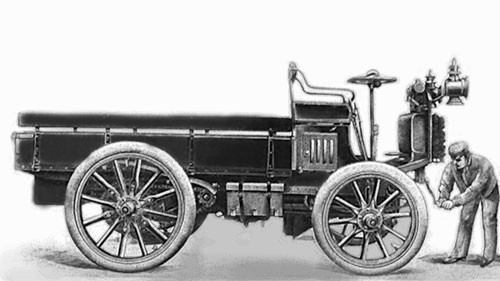 Camion Panhard 1902, moteur deux cylindres 6 HP